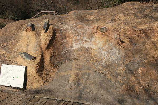 ショベルカーの跡の復元